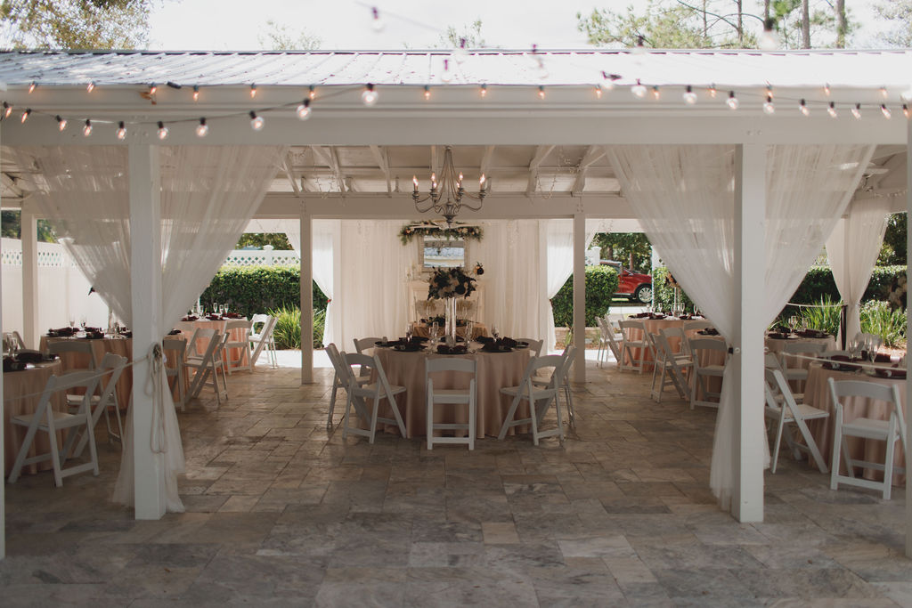 Intimate glam wedding reception decor and design