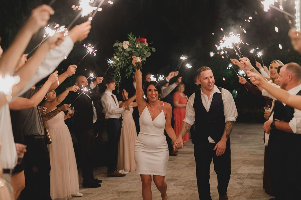 Jennifer and Chad's sparkler exit