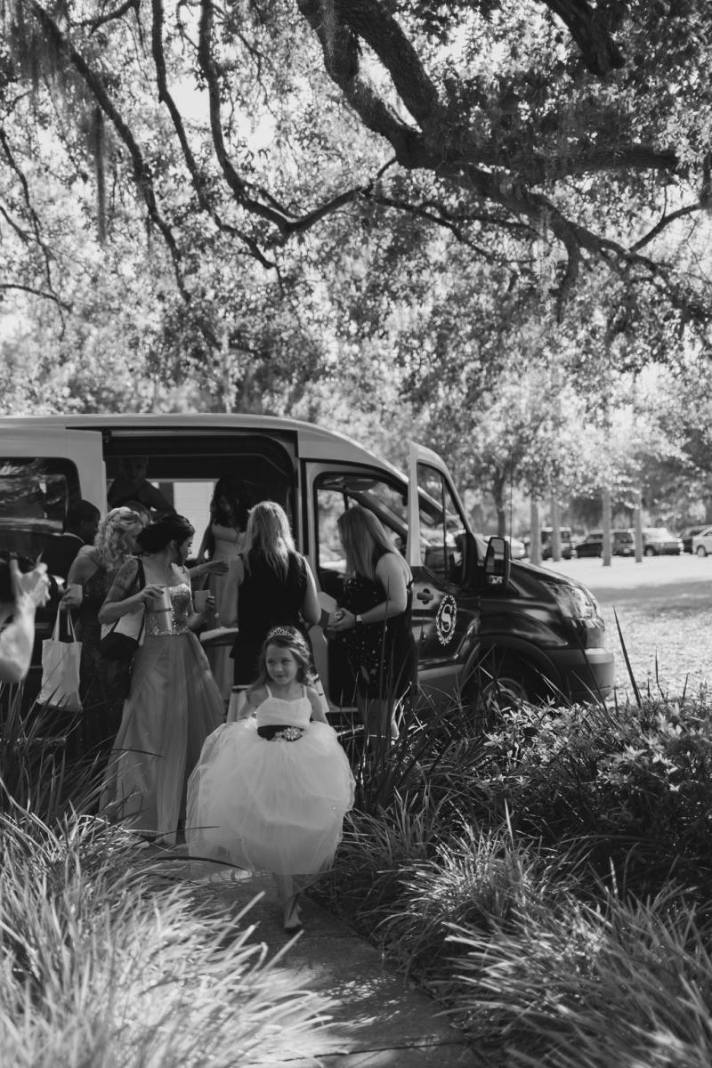 Jennifer and her bridal party arriving on property