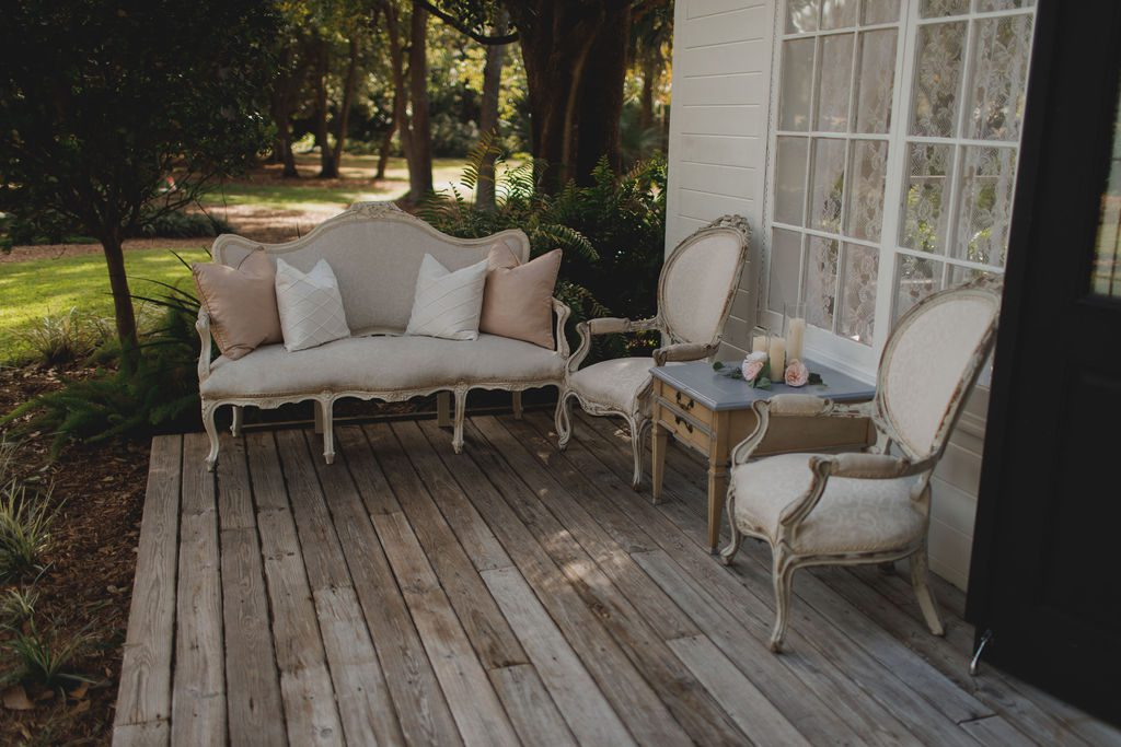 Vintage chic furniture for the front porch of the Chapel