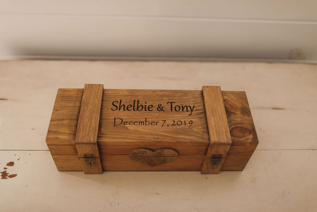 Custom engraved wooden wine box for a wine box ceremony
