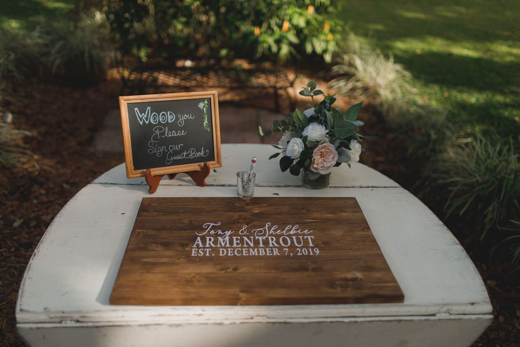 Wooden personalized guest book