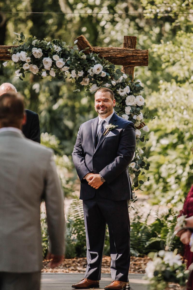 Chris's face when he sees his bride Ashlyn
