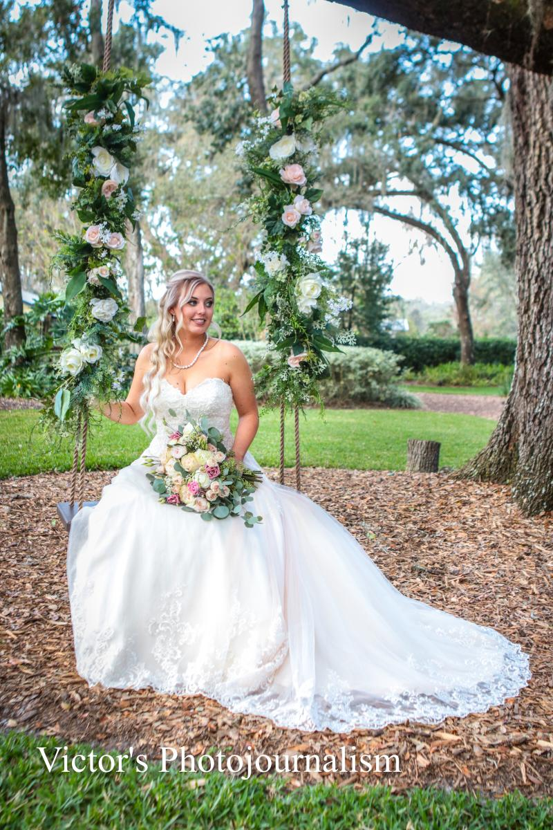 Jenna on the wedding swing