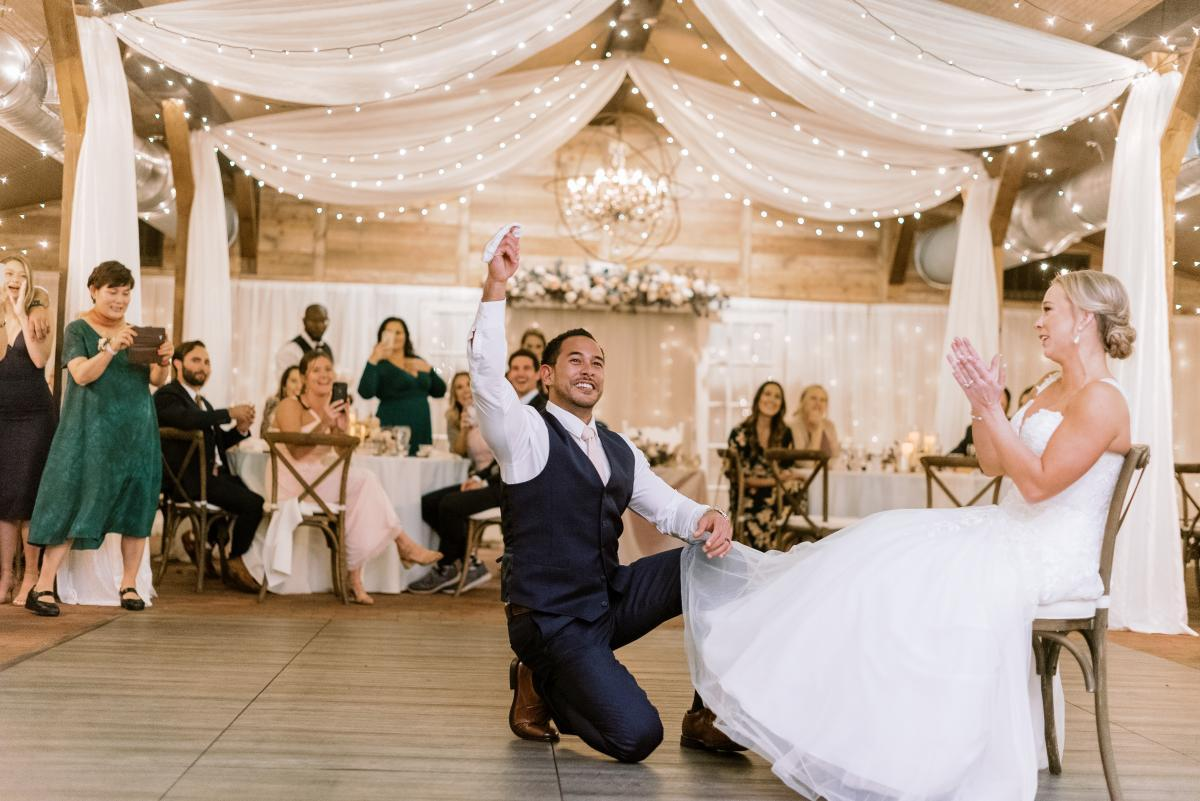 Wedding garter removal and toss