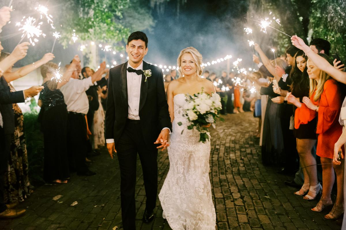 Krista and Ricky's grand sparkler exit