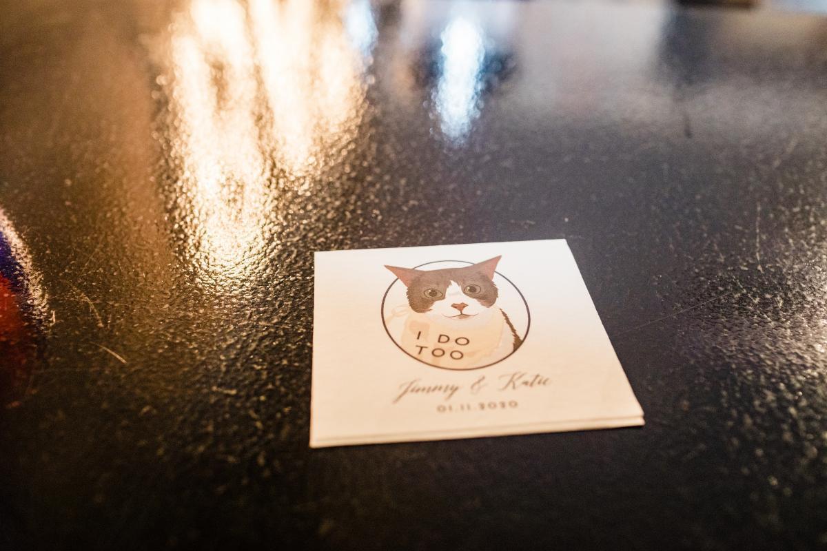 Personalized cocktail wedding napkins