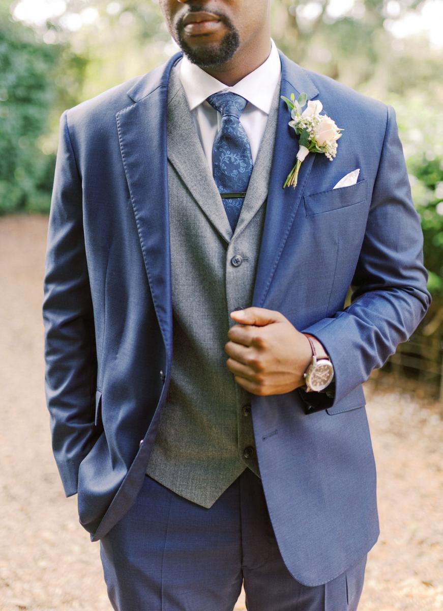 Todd's navy blue and grey suit