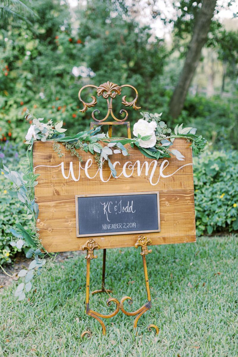 Welcome sign for KC and Todd's wedding