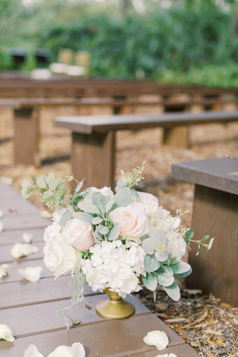 Dreamy blush and white wedding ceremony decor