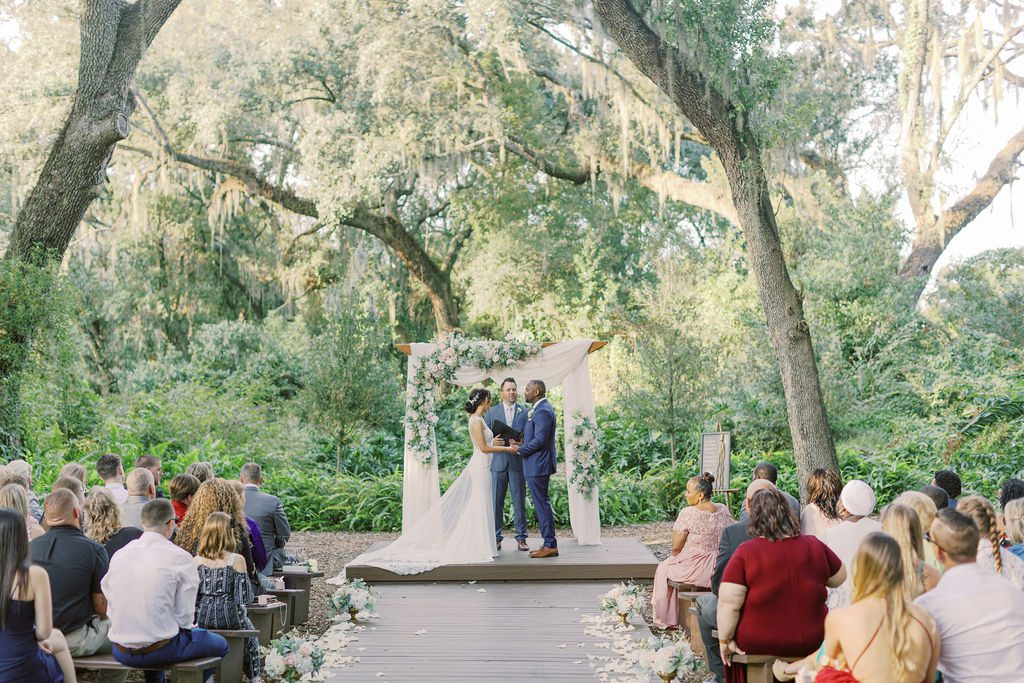 KC and Todd's dream blush and white wedding ceremony at the Enchanted Forest