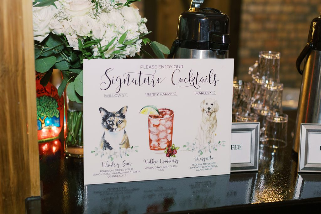 Signature drinks named after the couples pets