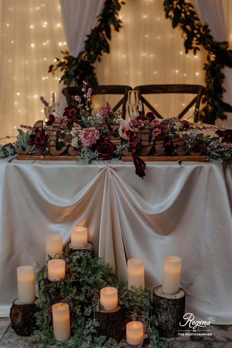 Kalee and Jacob's sweetheart table