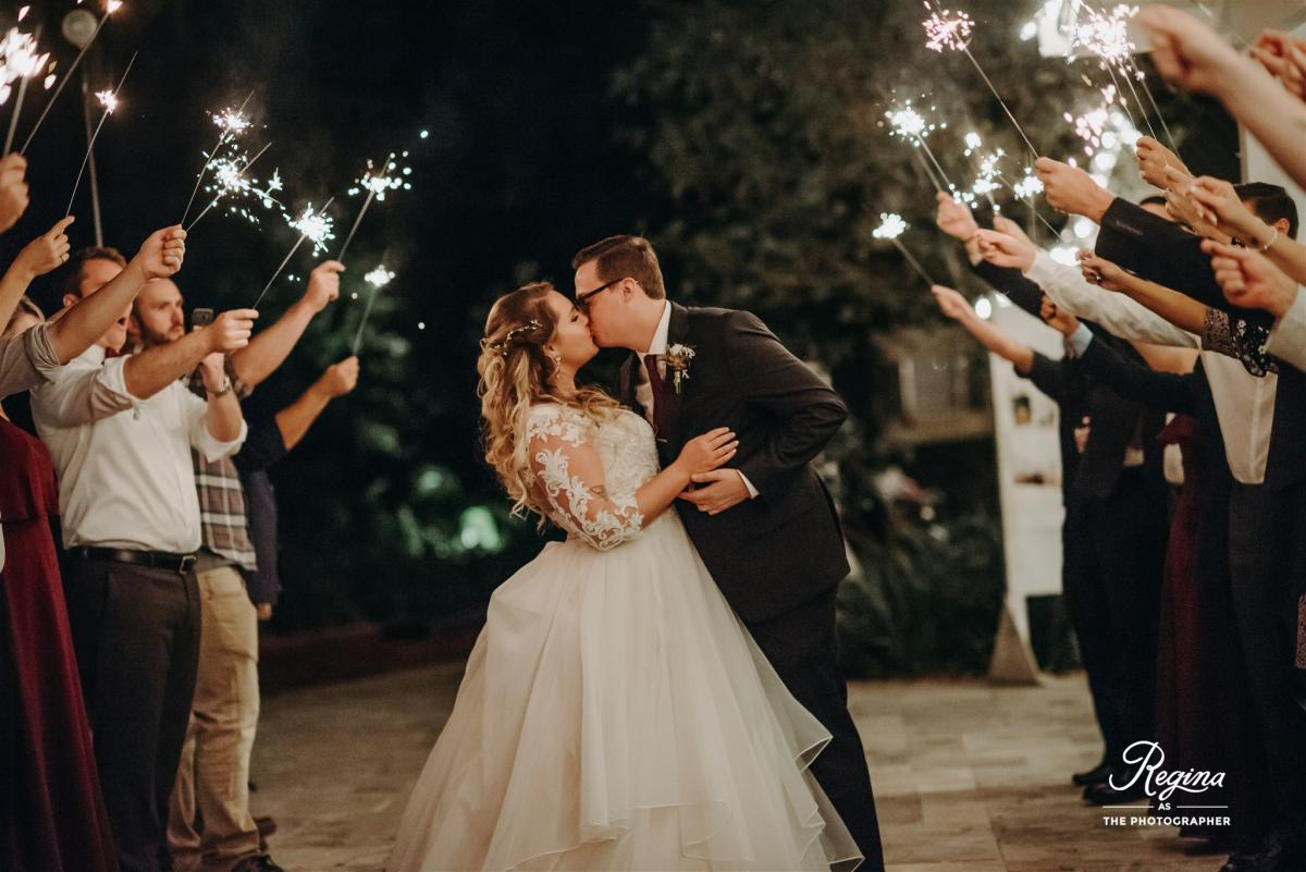 Sparklers for Kalee and Jacob's grand exit
