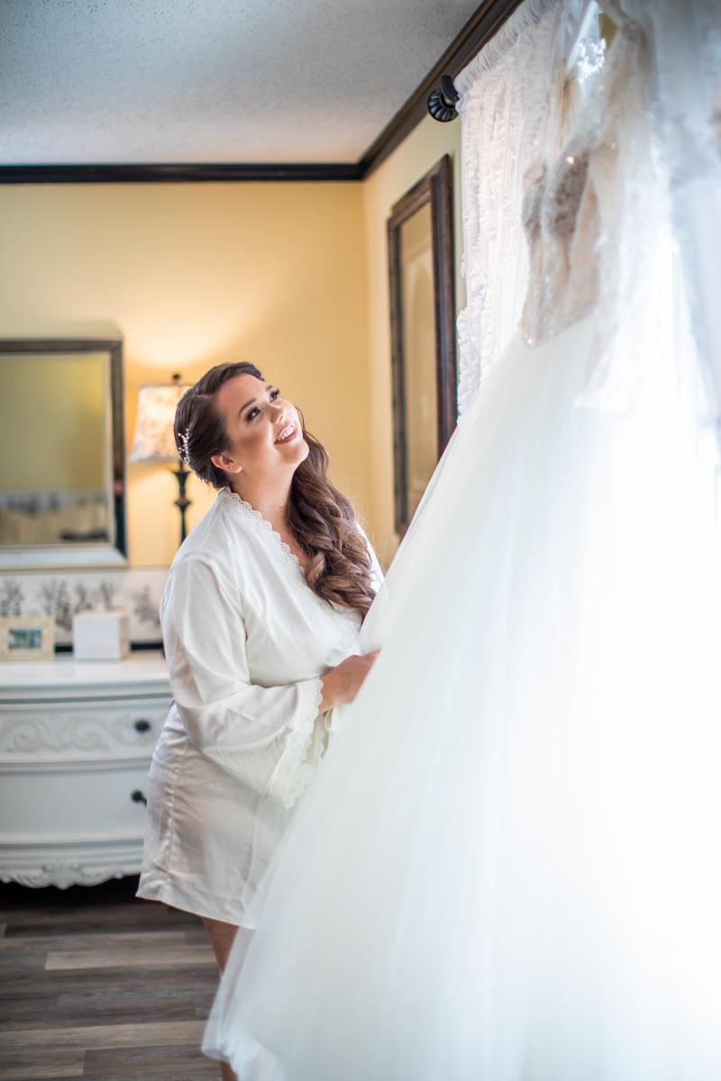 Taylor getting ready for her wedding day