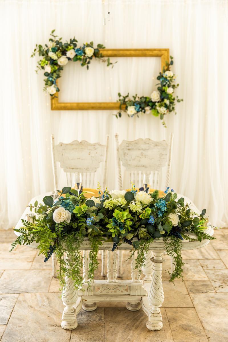 Rustic luxe wedding sweetheart table