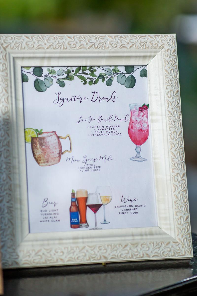 Customized wedding cocktail menu