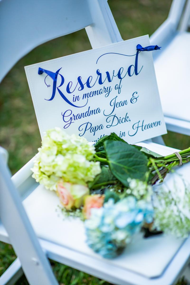Wedding ceremony reserved seating ideas
