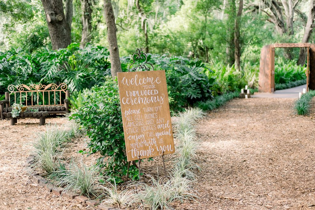 Unplugged wedding ceremony sign