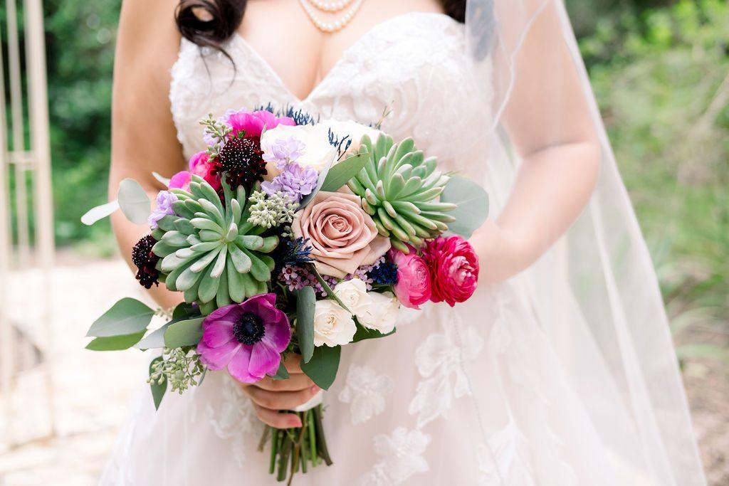 Mandy's jewel tones bouquet with succulents