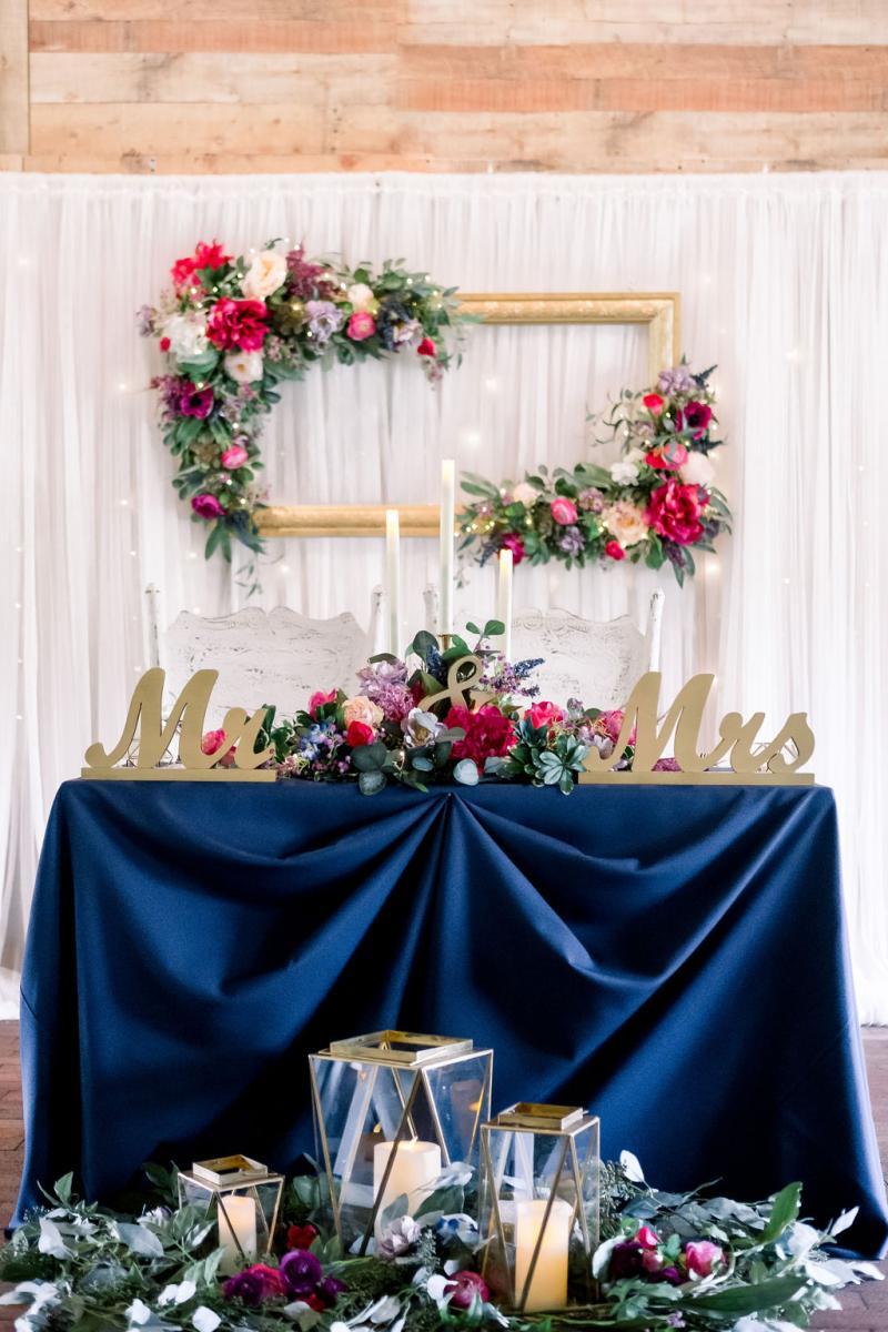 Elegant jewel toned sweetheart table