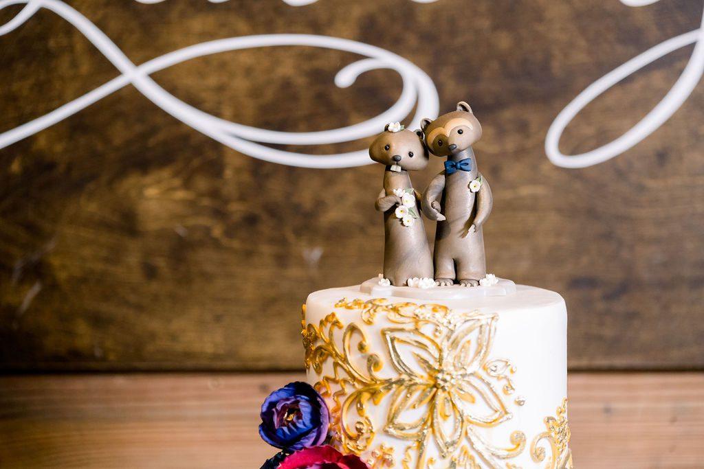 Animal wedding cake topper