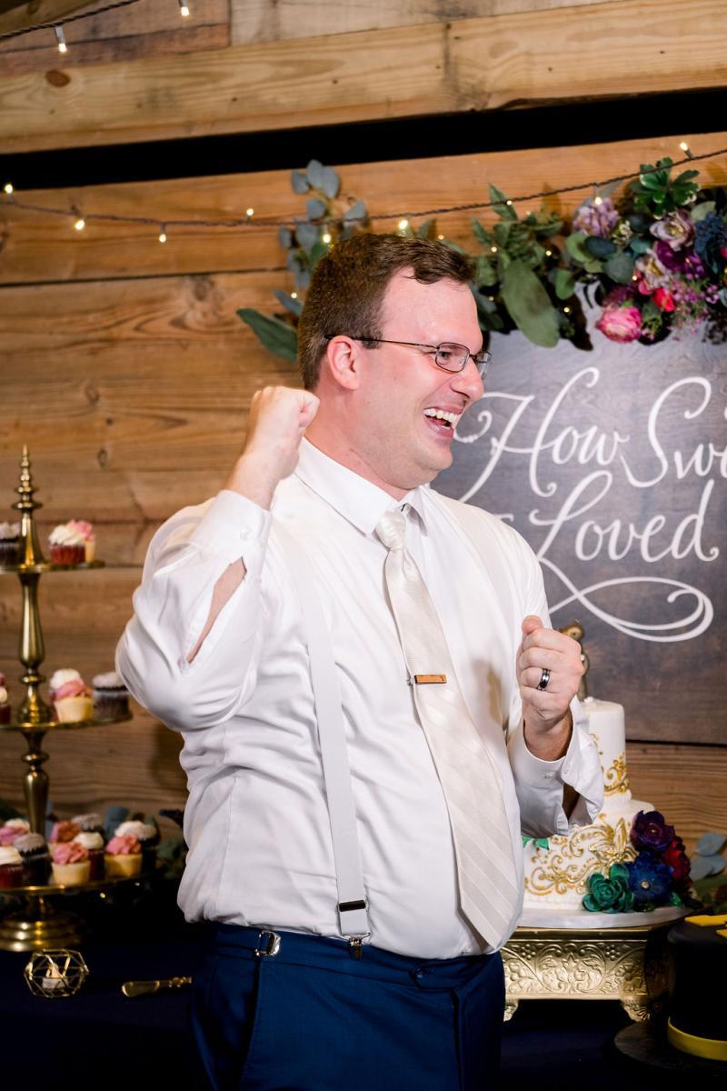 Ken's reaction to his surprise grooms cake