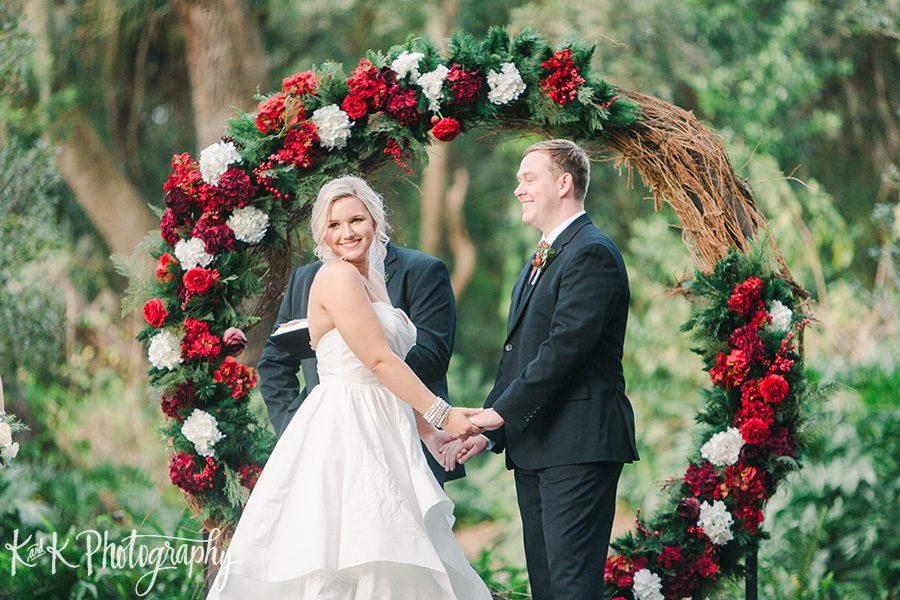 Lauren and Jordan exchanging vows