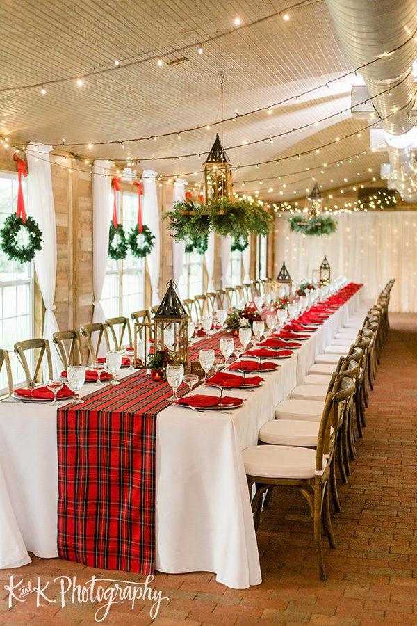 Christmas wedding reception decor and design