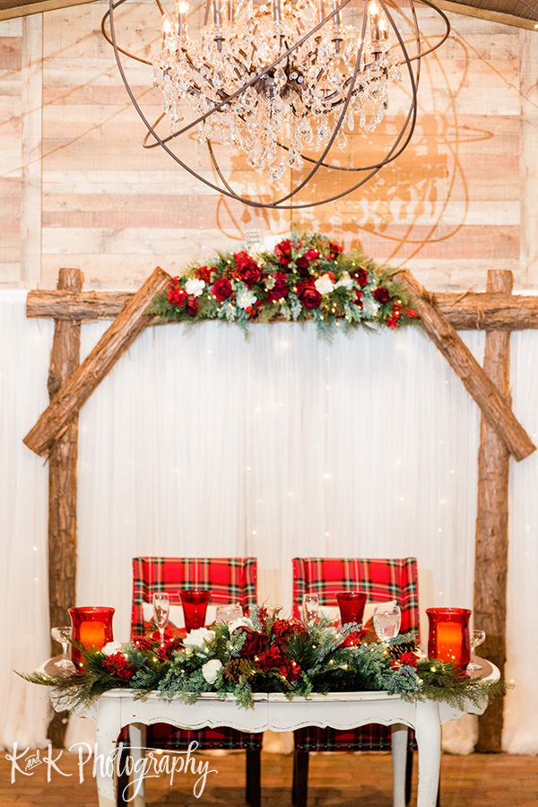 Christmas sweetheart table decorations and inspiration