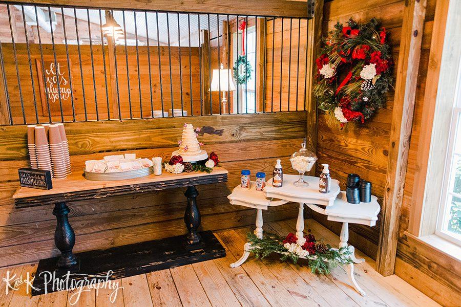 Christmas wedding hot chocolate station