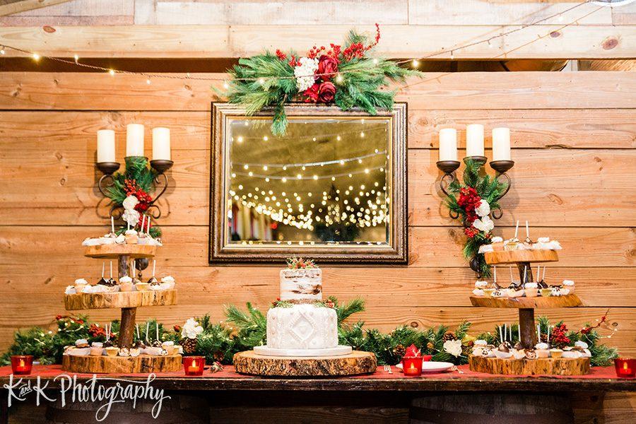 Lauren and Jordan's Christmas cake table display