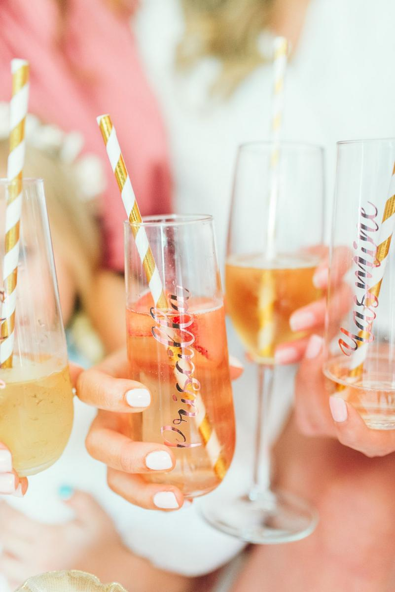 Cute champagne glasses for the bridal party to use while getting ready