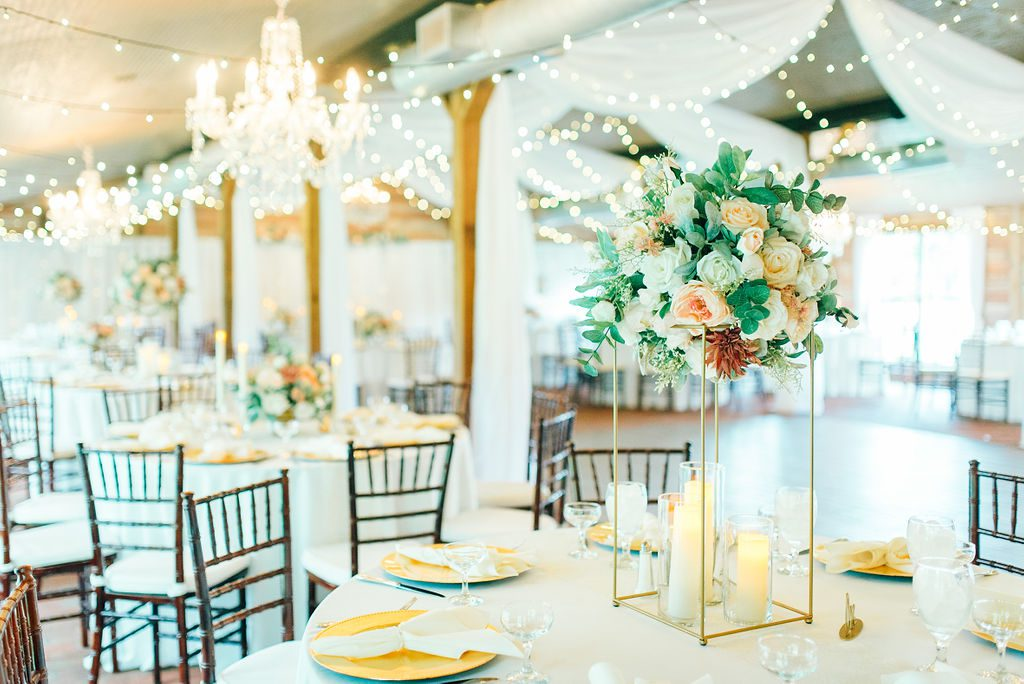 Elegant wedding centerpieces with romantic floral