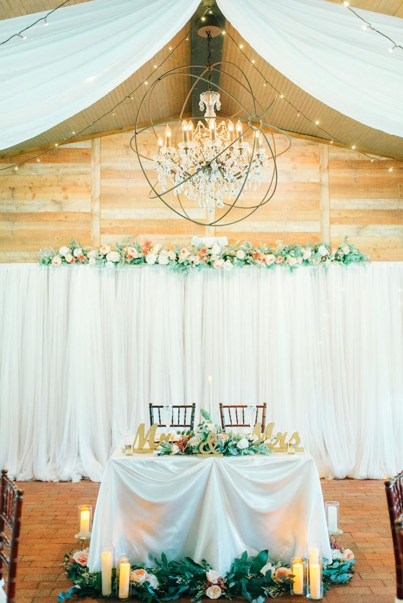Sinnikka and Steve's elegant sweetheart table