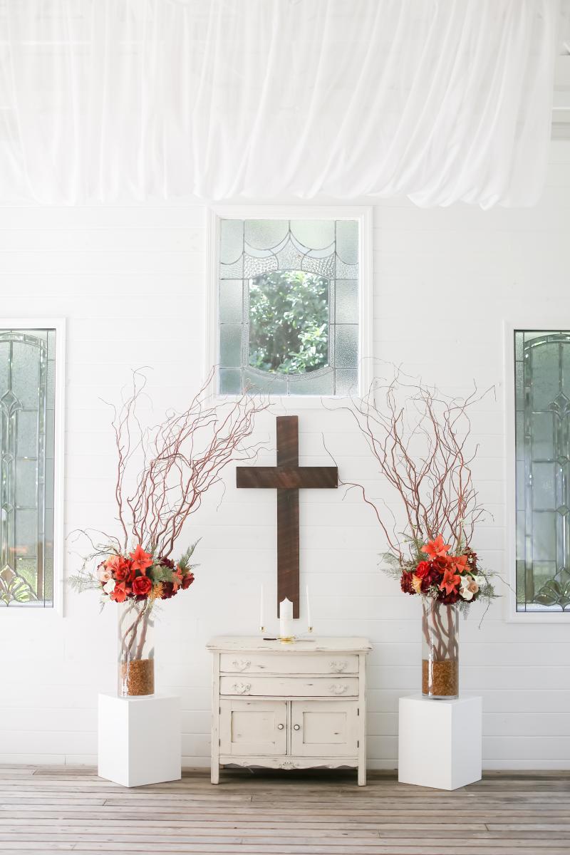 Whimsical burgundy Chapel decor