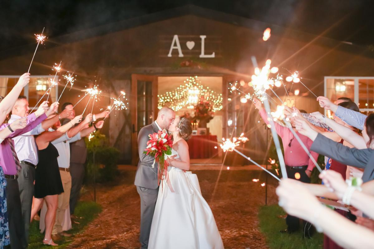 Sparkler exit in front of the Carriage House Stable