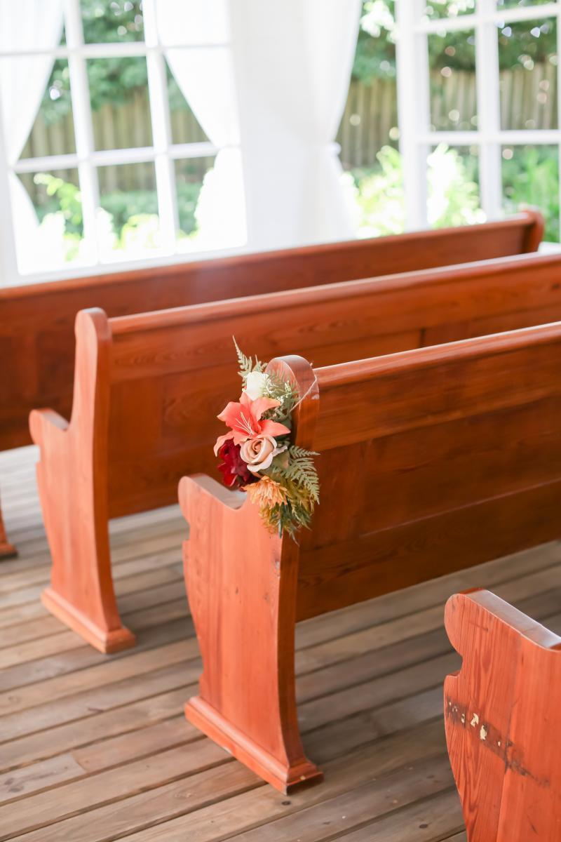 Wooden wedding Chapel pews