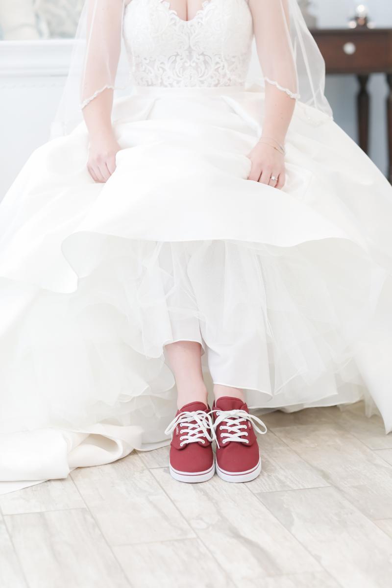 Burgundy flat wedding shoes