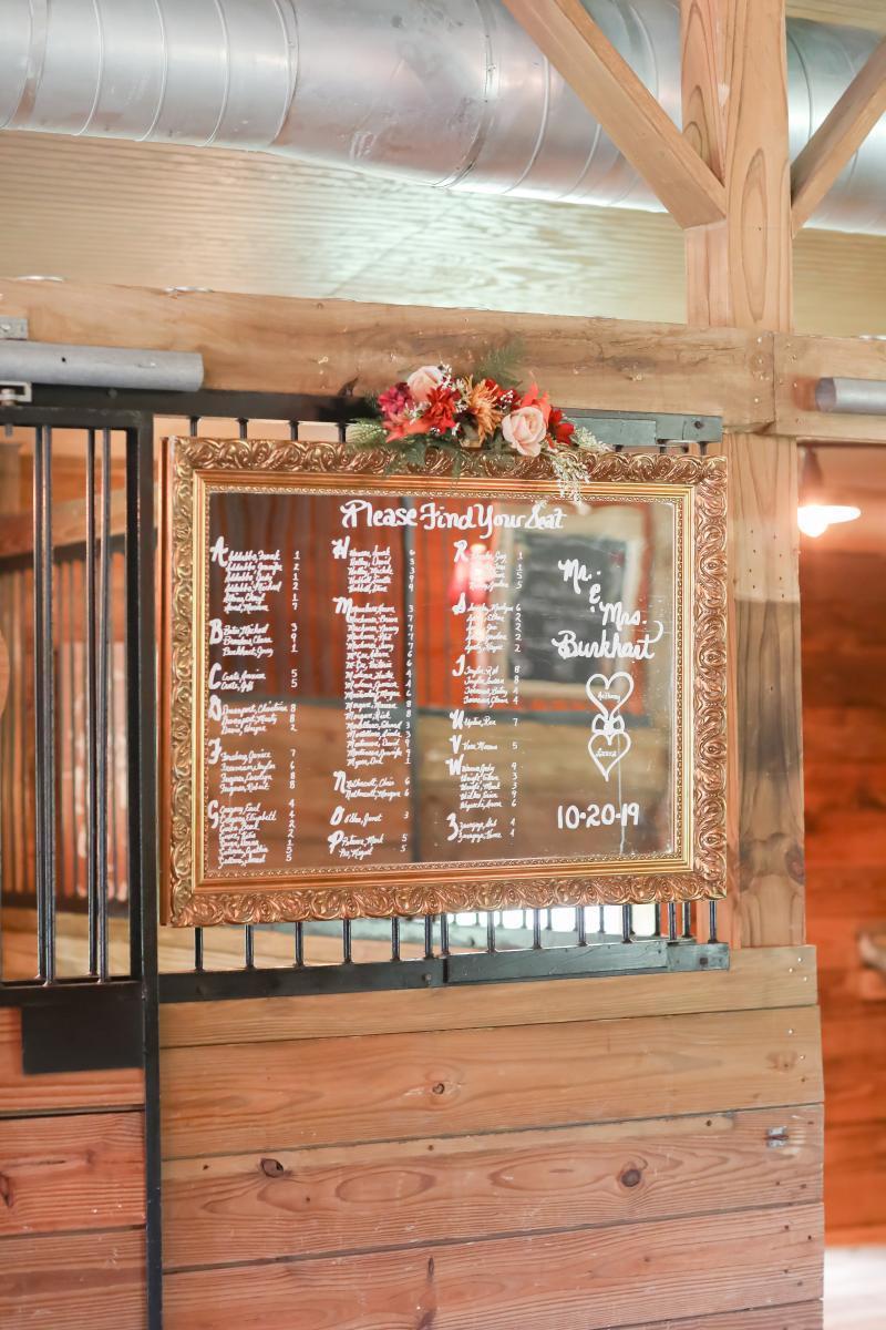 Calligraphy wedding seating chart