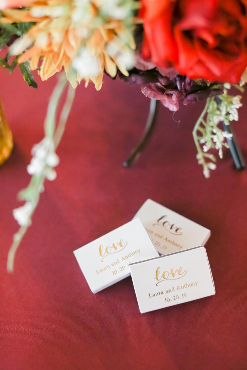 Matches for wedding favors