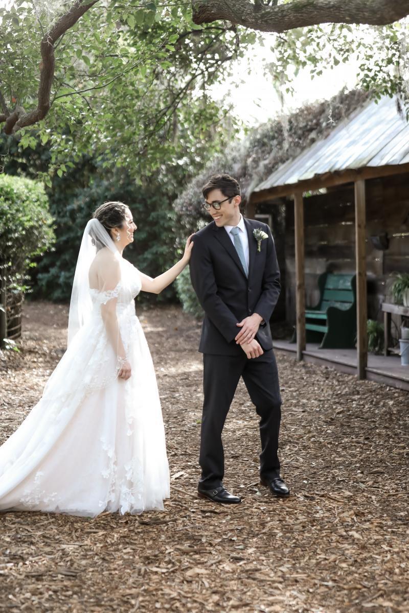 Wedding first look between the bride and groom