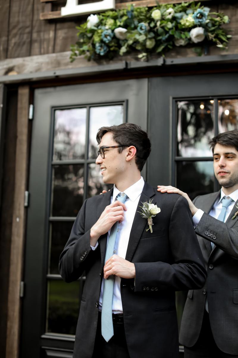 Logan getting ready for the wedding