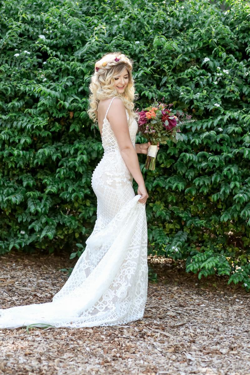 Model in boho dress