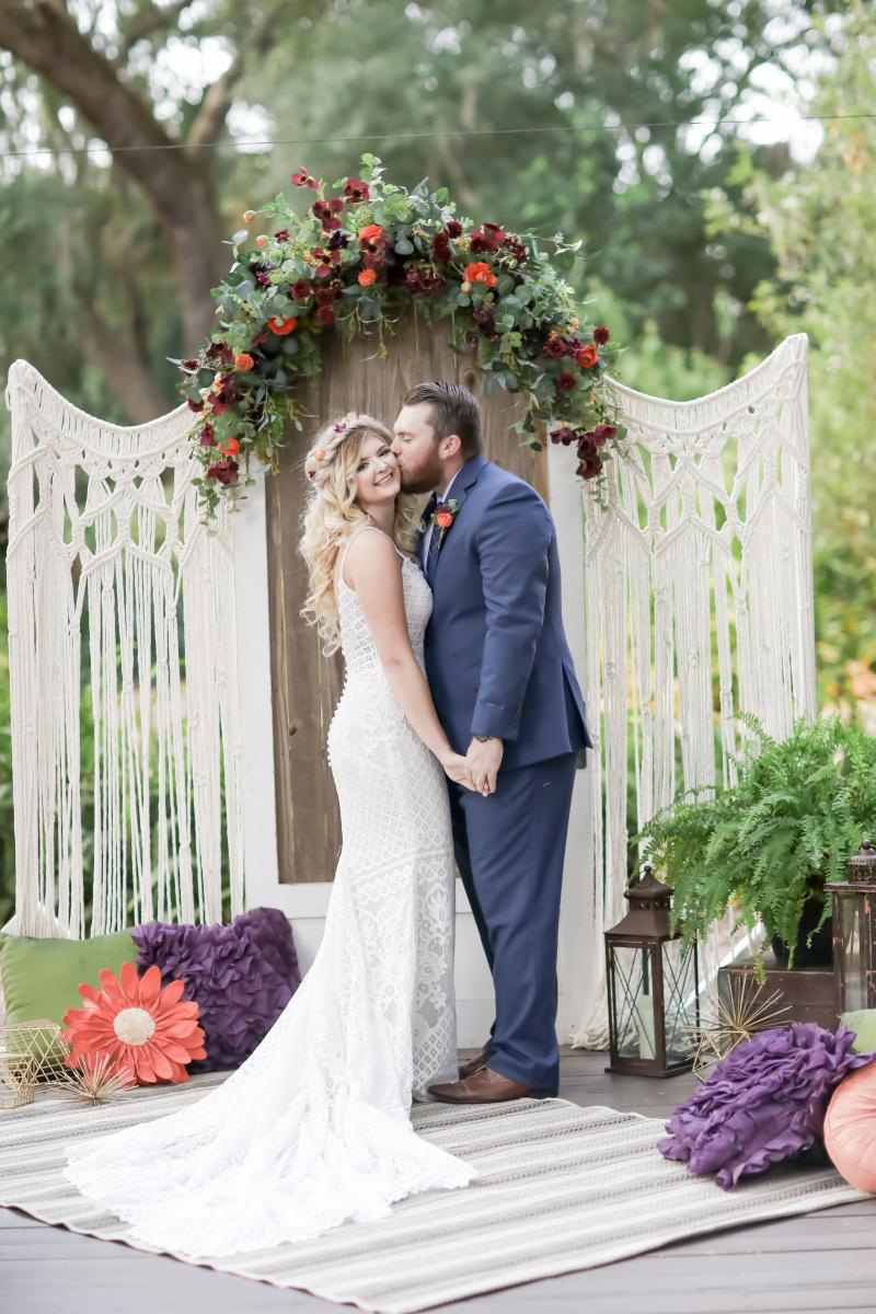 Macrame ceremony backdrop moody boho