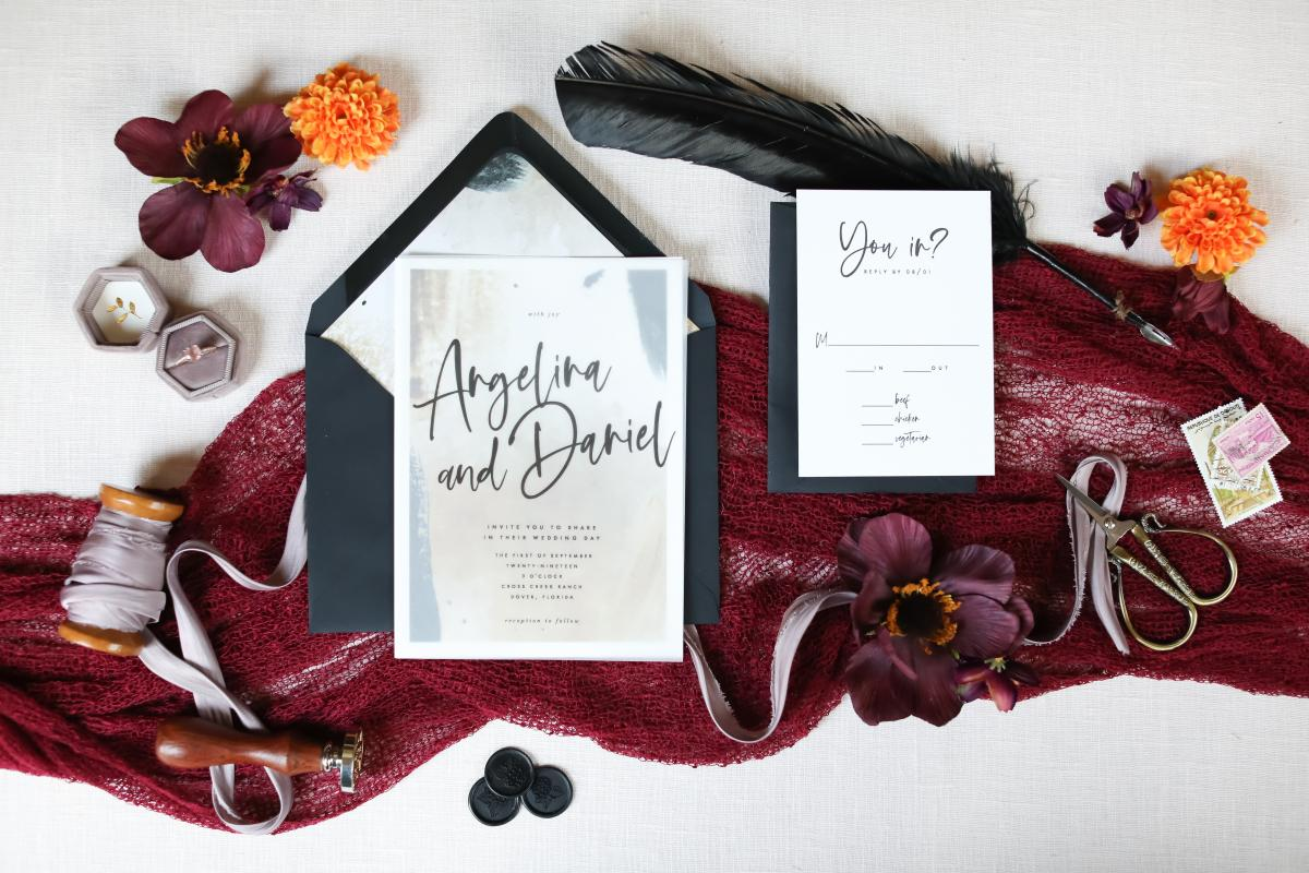 Moody Boho wedding stationary