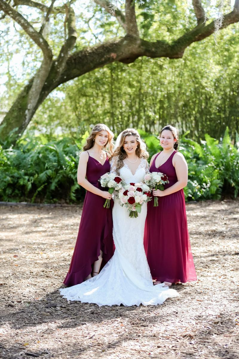 Long burgundy bridesmaid dresses
