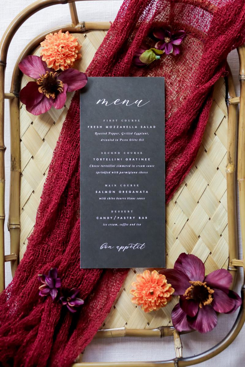 Black menus with gold print