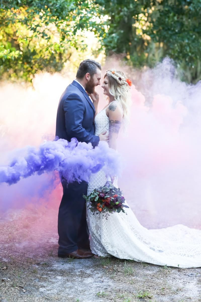 Pink and purple smoke bomb