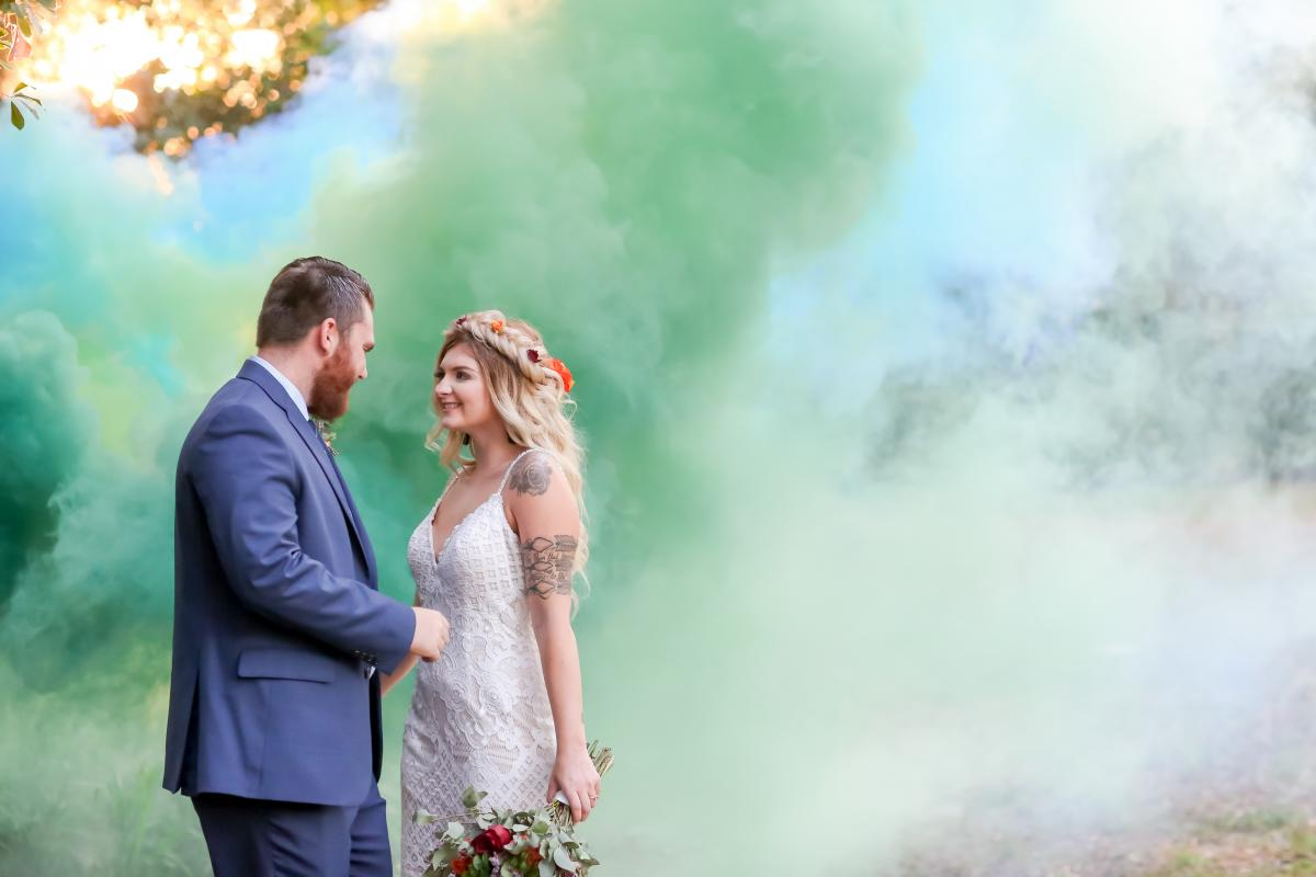 Blue and green smoke bomb